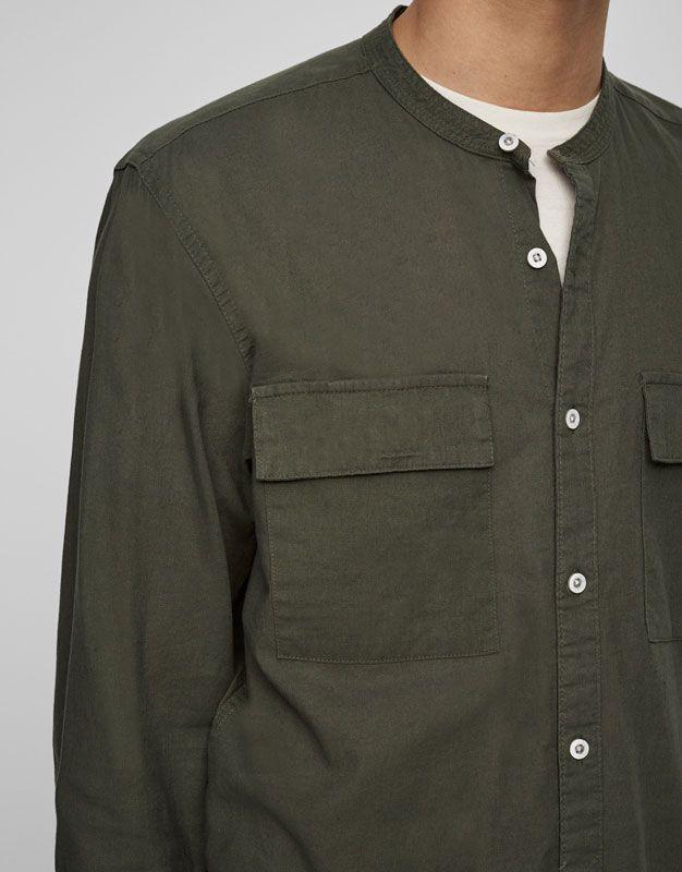 Camisa utility cuello mao - Camisas - Ropa - Hombre - PULL&BEAR España