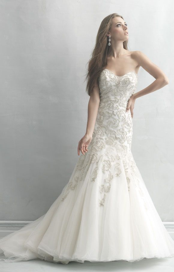 Wedding dress | Bridal Gown | Madison James Style MJ01 | Rose-embroidered pearlescent beading | Strapless A-line gown
