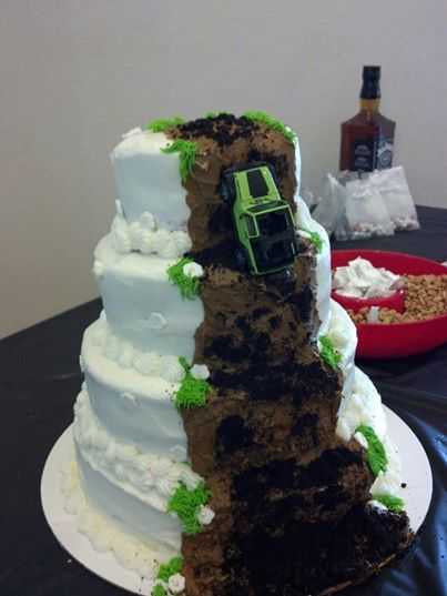 Wedding cake ideas, from one side it looks like a normal wedding cake from the other it's total jeep fun :-D