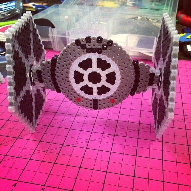 TIE Fighter Star Wars perler beads by Madam Fandom