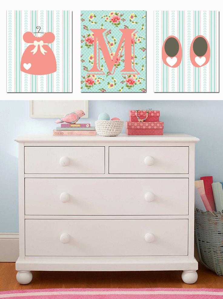 @ Kerri Lehmann Personalized Shabby Chic - Girl Room/Nursery Decor - Monogram Initial Set 3 - 8x10 Archival Prints Girl Wall Art - Baby Shower gift. $38.00, via Etsy.