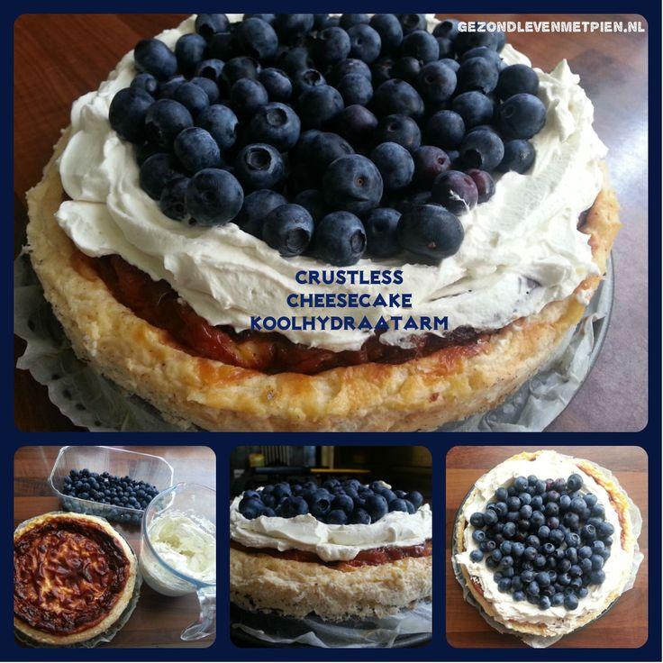 Crustless cheesecake of koolhydraatarme cheesecake. Snel en eenvoudig gemaakt en extra lekker met roomlaag met blauwe bessen.