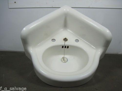 Vintage Corner Sink : Antique Vintage Bathroom Sink Cast Iron Corner Sink Early 1900s ...