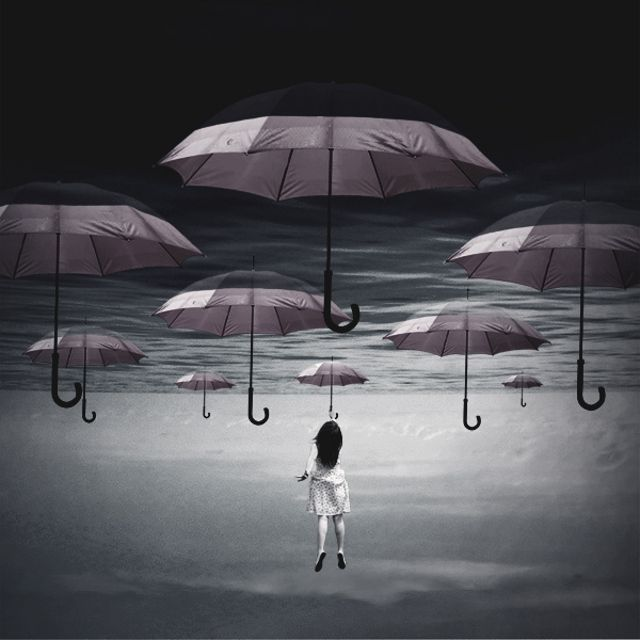 Unknown artist, umbrella art, surreal  photography. Repinned by author, Dew Pellucid, http://thesoundandtheechoes.com