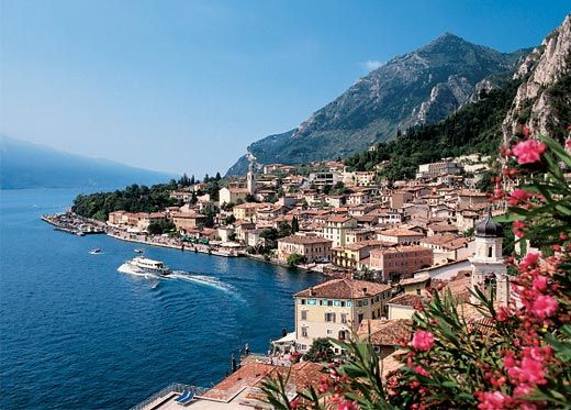 Limone, Lake Garda, Italy. Beautiful harbour and stunning views over the Lake from all the little restaurants and cafes at the water's edge.
