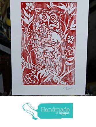 Il Gufo, linografia -Incisione artistica originale di Davide Pacini stampata a mano dimensioni cm 20,9x29,8 cm.Made in Italy,toscana Lucca. da Arte Pacini Davide https://www.amazon.it/dp/B0711949KR/ref=hnd_sw_r_pi_dp_cF3pzb5X9PJF1 #handmadeatamazon