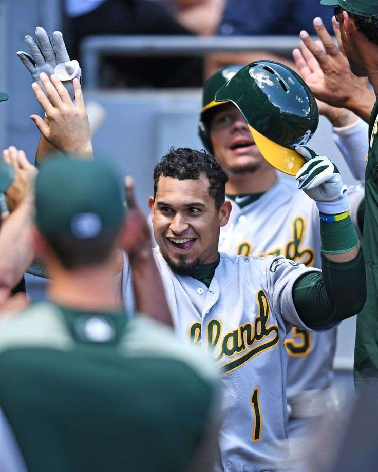 MLB home run fever: 5 more crazy facts  -  June 26, 2017:    Oakland Athletics second baseman Franklin Barreto (1) celebrates his two-run home run in the third inning against the Chicago White Sox at Guaranteed Rate Field.