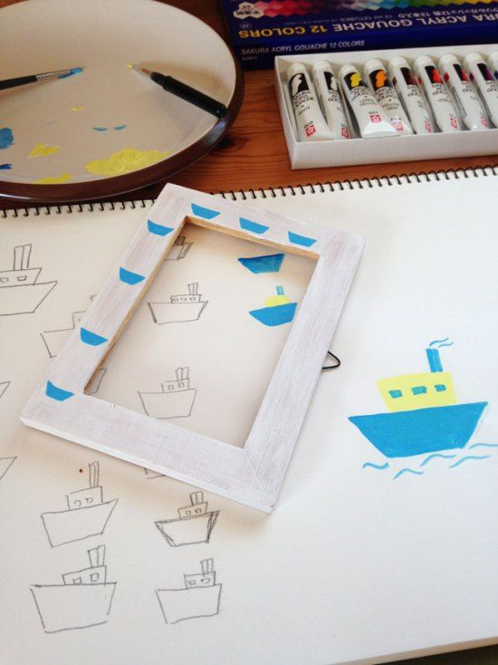 DIY painted photo frame project using acrylic paints.  www.hellosweaterclub.com
