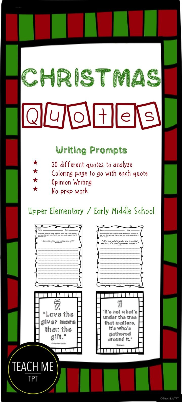 christmas quotes writing prompts | teach me tpt | teaching