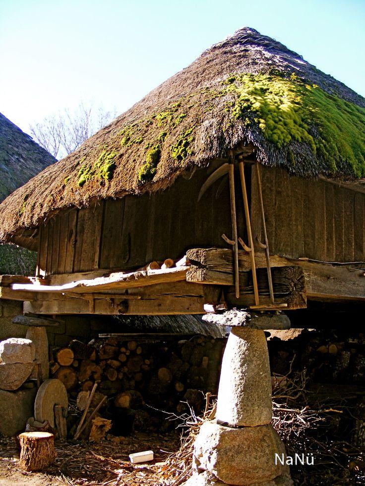 Típica Palloza, en la aldea de Piornedo, en plena Serra dos Ancares - Galicia Spain