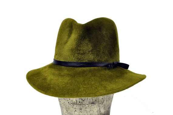 Karo Rabbit Hair Felt Wide Brimmed in Olive Green by SOHODA