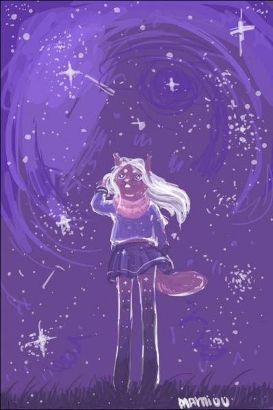 """""""В момент, когда у нее уже почти отмерзли лапки, она вдруг обнаружила, что туман почти рассеялся и она вышла на открытое пространство: тропинка, по которой она шагала, здесь почти прервалась - чем дальше, тем более нечеткими становились ее очертания, вокруг была степь, освещенная тысячами звезд с совершенно ясного небосвода. Ним подняла голову кверху и залюбовалась звездным сиянием..."""""""