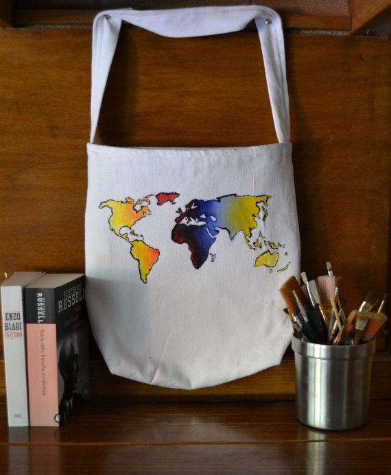 Canvas bag completely handmade. Acrylic painted and perfect for books. #canvas #bag #paint #diy #world #handmade #etsy #onlineshop #shop #style #ideas #inspiration #style