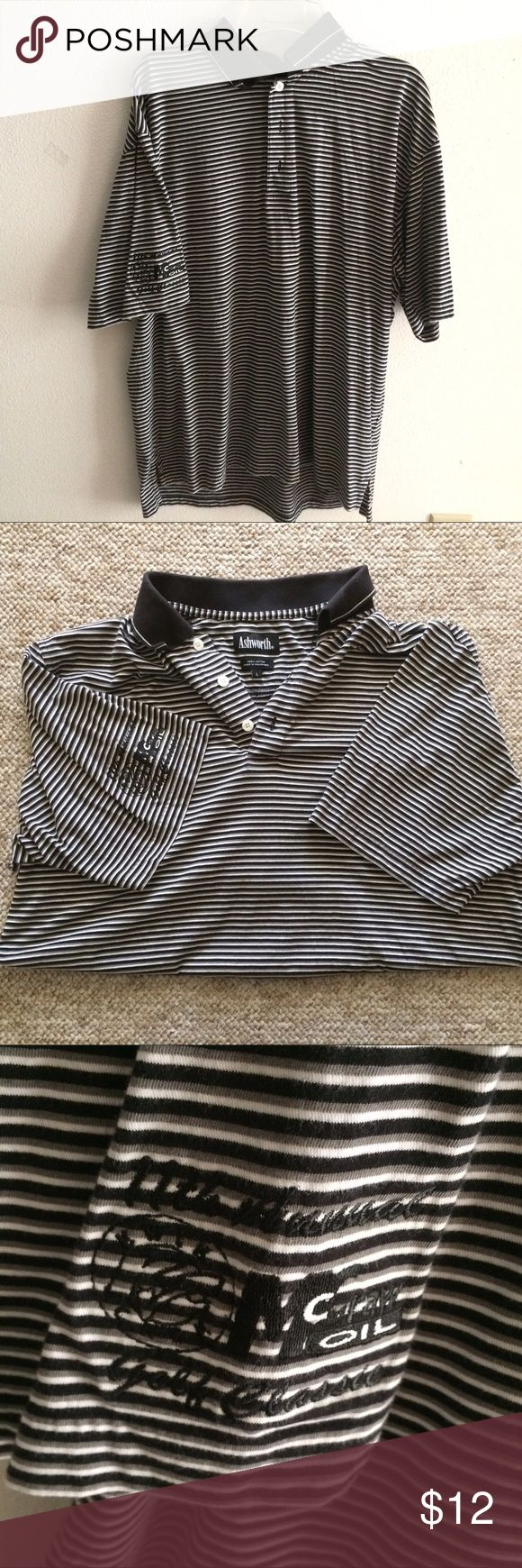 """100% Cotton """"Ashworth"""" striped Polo shirt Perfect condition causal polo shirt. Black and white stripes & black collar. Buttons to the neck. 100% Cotton. Ashworth Shirts Polos"""