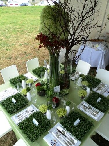 Fake Grass Table Decoration #fakegrass