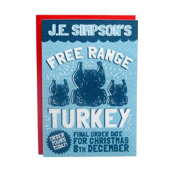 J.E. Simpson's Free Range Turkey Christmas Card by TeaAndCeremony, £2.50 #christmas #card #festive #holidays #winter #illustration #food #turkey #advert