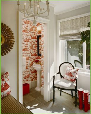 Photography Gallery Sites Mud room looking into a bathroom Light space with roman shades pillows coordinating with wallpaper of bathroom