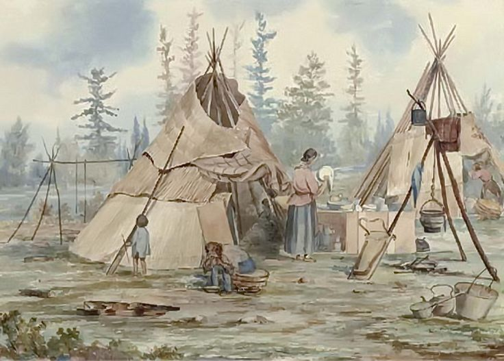 Indian camp with two wigwams (Northern Ontario) by artist William W. Armstrong (1822-1914)