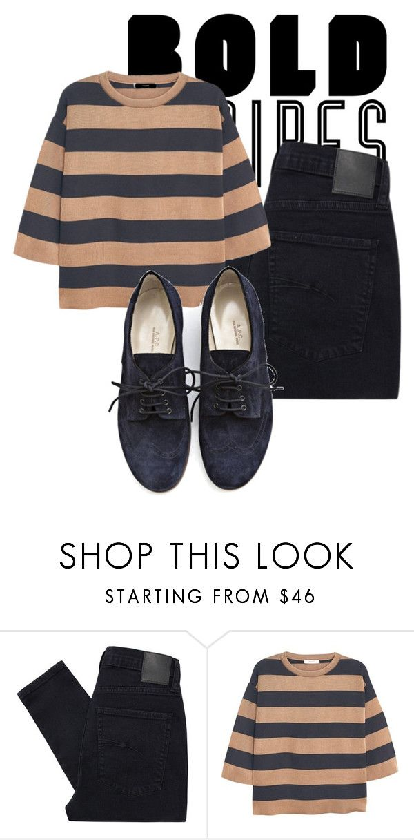 """Bold Stripes #1"" by hideous ❤ liked on Polyvore featuring Nobody Denim, MANGO, A.P.C., contest and BoldStripes"