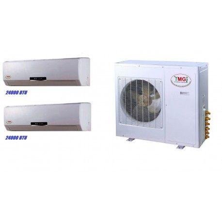 YMGI 48000 BTU 24000+24000 DUAL ZONE DUCTLESS MINI SPLIT AIR CONDITIONER Heat Pump