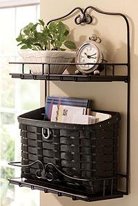 Longaberger basket w/wrought iron wall organizer
