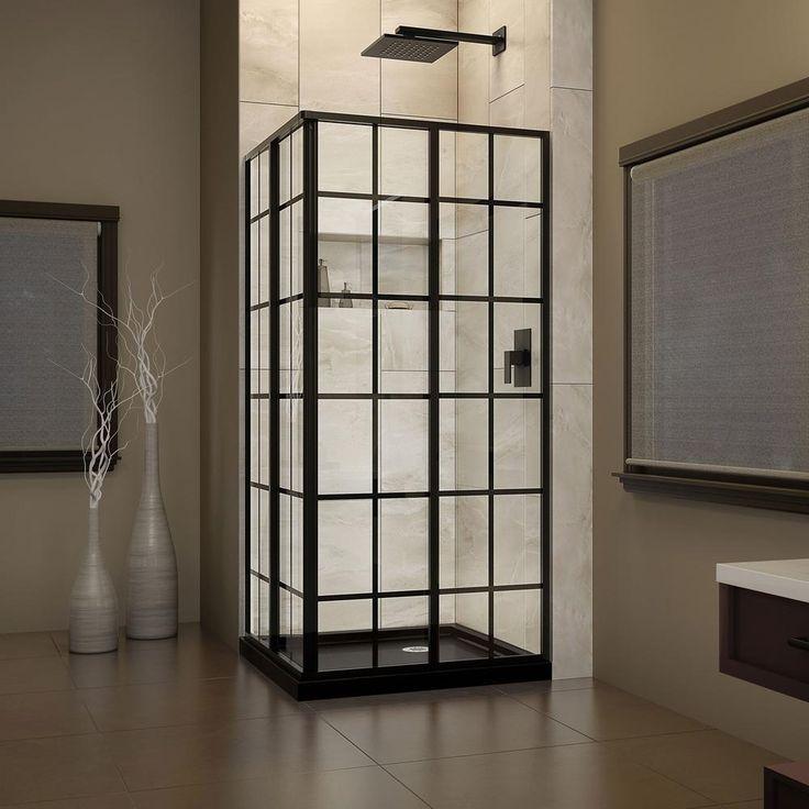 DreamLine 36 in. W x 36 in. D x 74.75 in. H Framed French Corner Shower Enclosure and Shower Base Kit in Satin Black