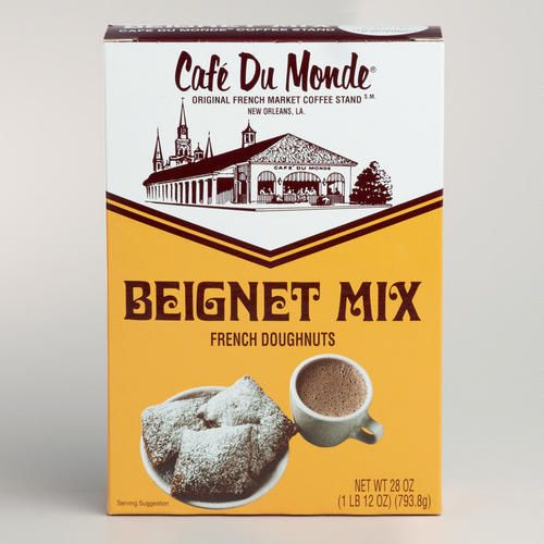In New Orleans, nothing goes better with cafe au lait than Café Du Monde Beignets. Beignets are puffy square French doughnuts that are traditionally covered in powdered sugar. Café Du Monde Beignet Mix makes up to four dozen French doughnuts. Enjoy for breakfast or brunch with friends or family any time and experience this popular taste of New Orleans from your own home!