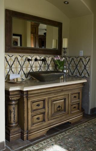 Mediterranean home vessel sink vanities with legs design Spanish style bathroom sinks and vanities