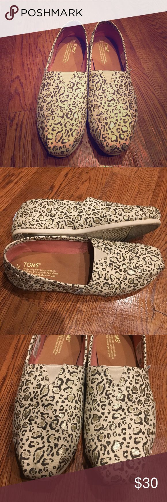 LIKE NEW Leopard Toms Worn ONCE. Like new.  Cream canvas with brown & gold leopard print. TOMS Shoes Flats & Loafers