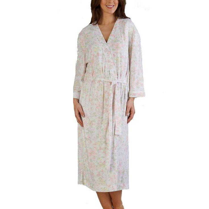 Ladies Floral Print Long Sleeve Tie Belt Robe - Mint - Pink - S/M/L/XL