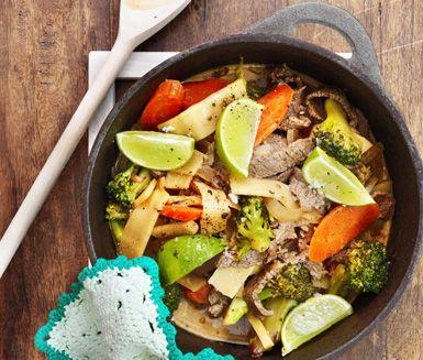 Recept: Thaibiff med ris