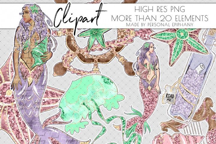 Glitter Mermaid Clipart, Mermaid Scrapbook, Sea Underwater Clip Art By Personal …