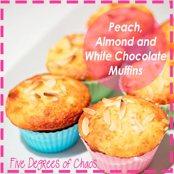"""I added """"Peach, Almond and White Chocolate Muffins """" to an #inlinkz linkup!http://fivedegreesofchaos.com/2014/09/09/recipe-peach-almond-white-chocolate-muffins/"""