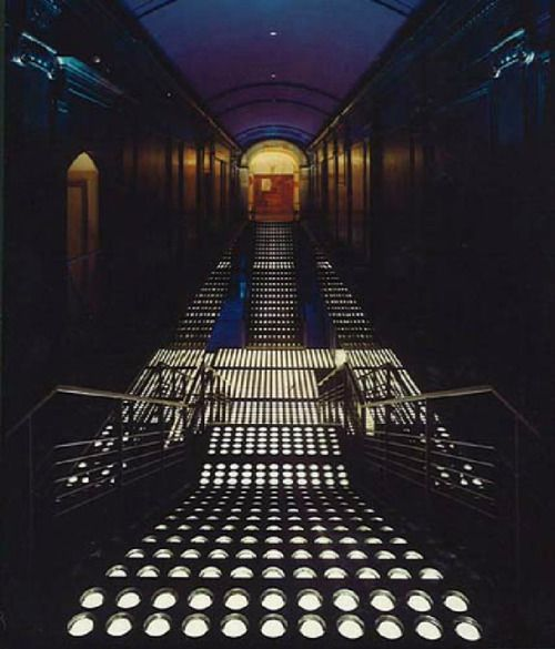 design-is-fine: Interior of the Studio 54, 1977-81. New York. Interior Design: Ron Doud, lighting design: Brian Thomson. More to see: The Nightclub Years © ian schrager company Schrager was the co-owner and co-founder of the Studio 54, together with Steve Rubell. It was originally an Opera House, designed by architect Eugene De Rosa in 1927. They used the space's original theatrical structure to constantly change the look and feel of the club.