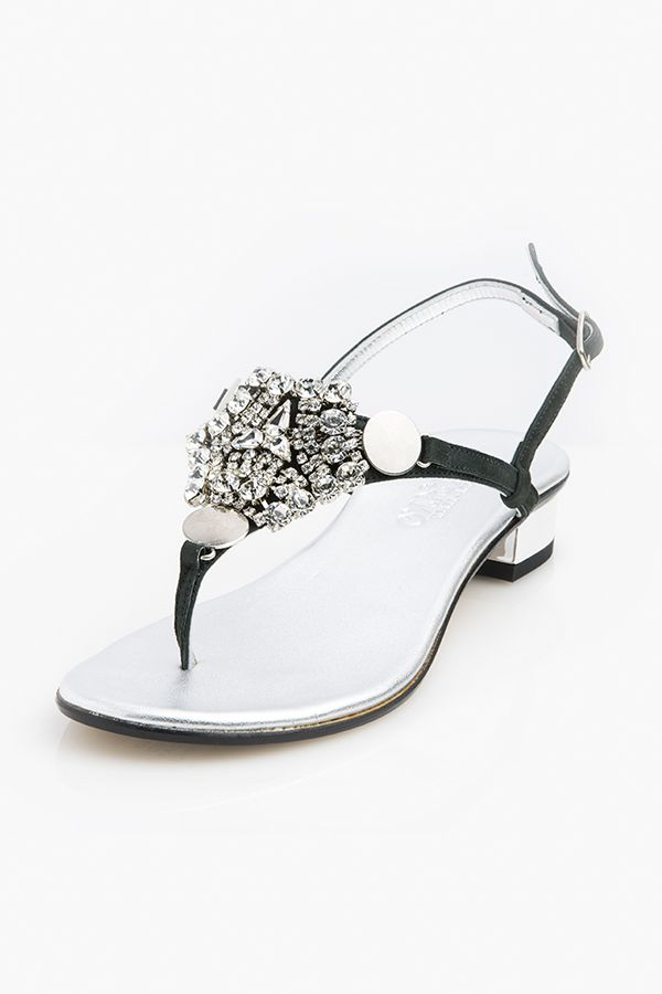 Women sandal in true Positano style, with natural and high-quality materials.  They are realized according to ancient and traditional techniques.  20mm heel, silver laminate with cry stone. Shop Positano sandals for women at the highest quality Made in Italy online store.