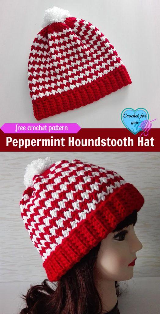 Peppermint Houndstooth Crochet Hat Free Pattern
