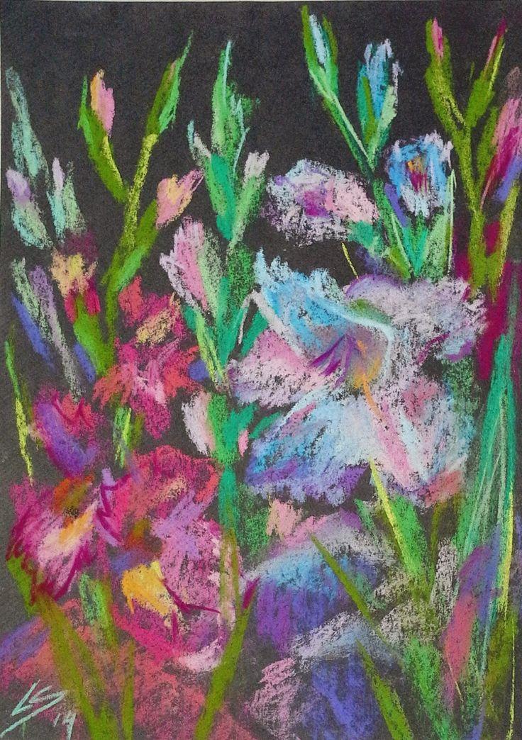 """Gladiolus"" Original Pastel Painting by Liudmila Suhorucova 15x20cm"