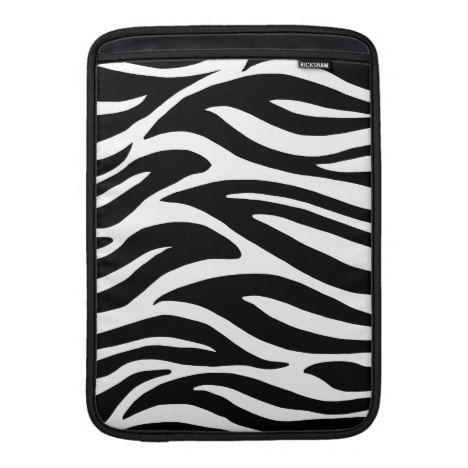 Black and White Zebra Stripes MacBook Air Sleeve #laptop #computer #ipad #mac #sleeve #bags #modern #colorful