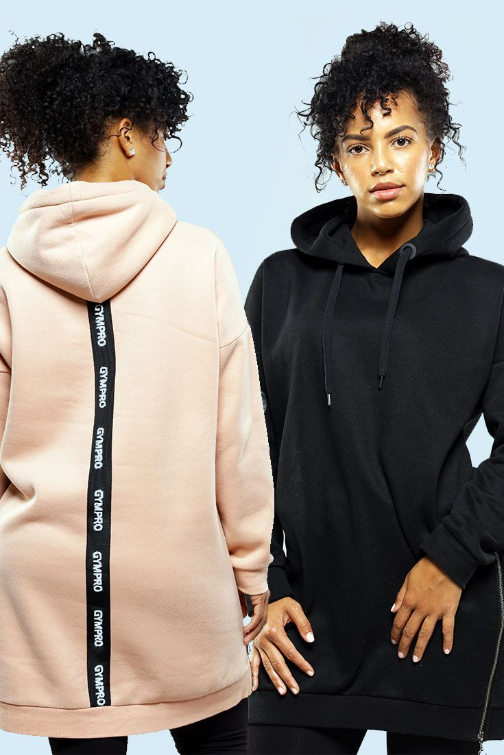 GymPro limited edition longline hoodie in black combines the perfect oversized look with a casual feel. An iconic raised rubber logo. striking back detail panelling combined with its luxury brush back fabric. Perfect for cross season comfort and those cosy nights in.