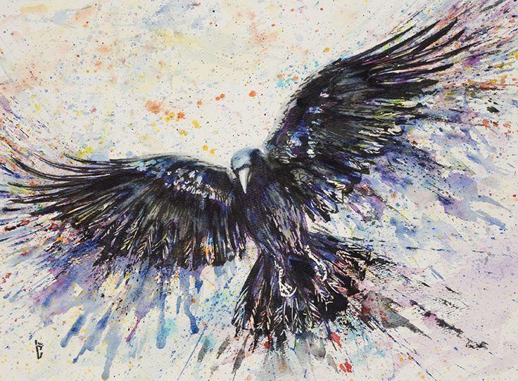 watercolor crow tattoo - Google Search