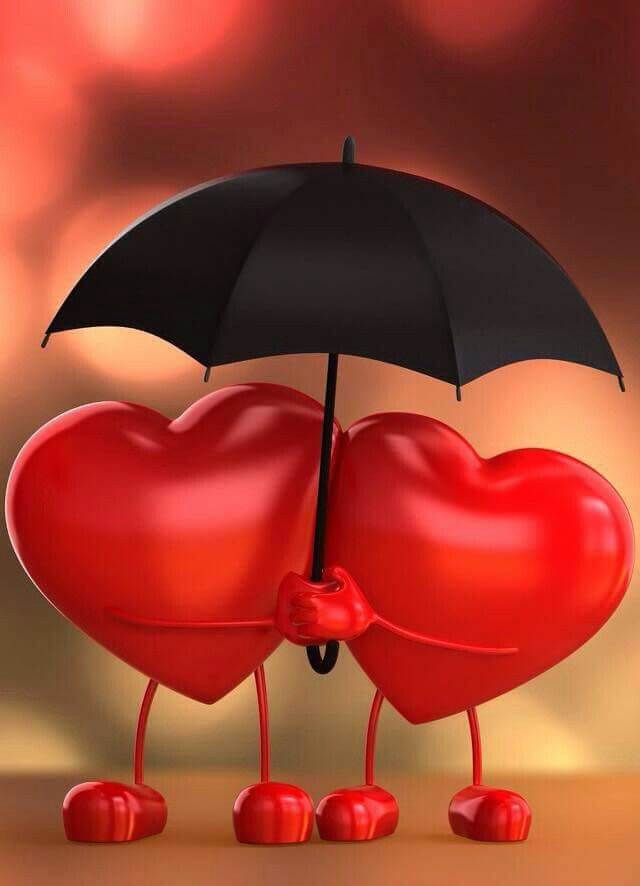 T: two hearts under one umbrella <3