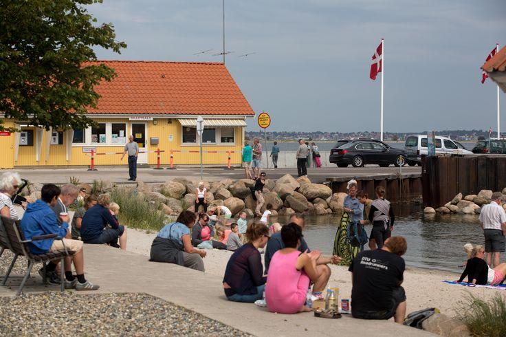 Lille dejlig badestrand på Rørvig havn - lige ved Rørvig-Hundested færgen