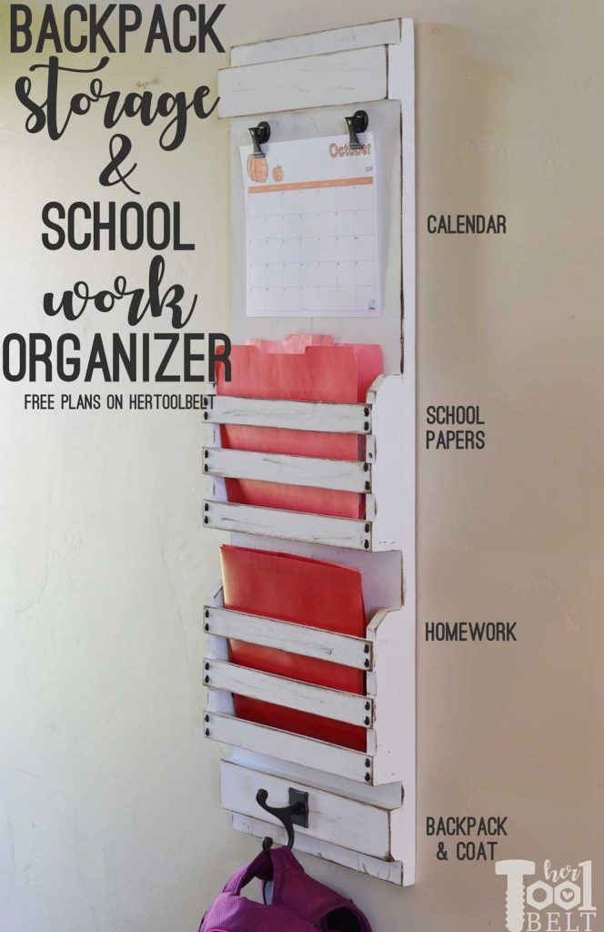 DIY Woodworking Ideas Need to organize the school work/papers and homework? Free plans to build a back...