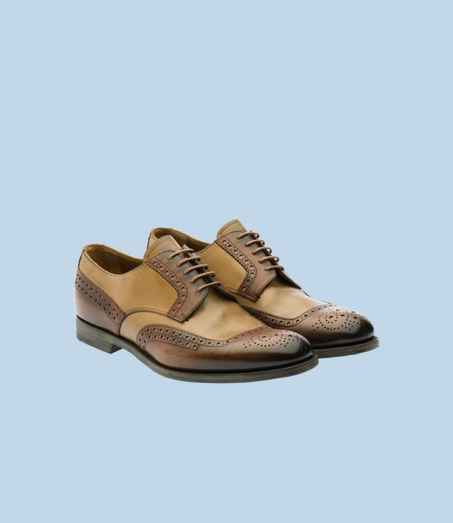 PRADA - Two-tone antiqued calf and nabuck leather derby brogue perforated  motif on the