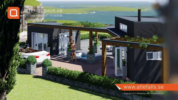 Här visar vi en bild på en kombination med en friggebod och ett attefallshus. Trevliga pergolas förstärker formen. Allt bygglovsfritt. Ytterligare information: www.attefalls.se #attefallshus