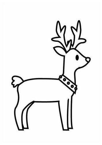 Dibujo para colorear reno de Navidad