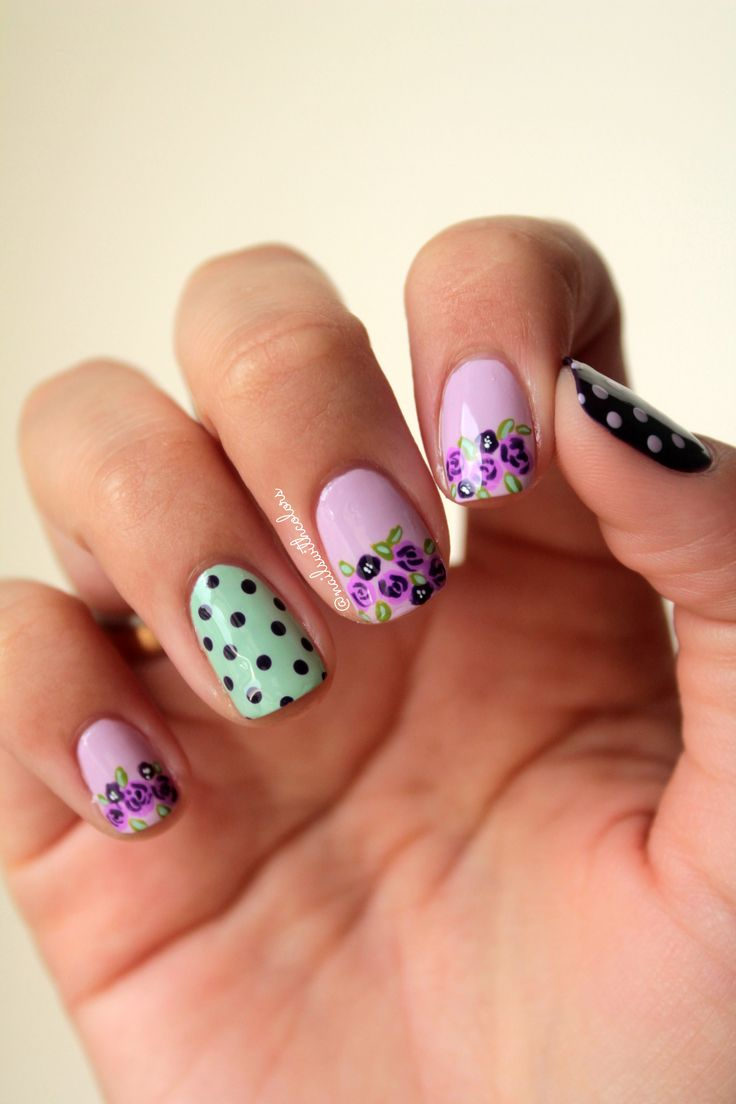 Purple and mint. Polka dots and flowers is a yes.