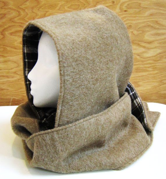 Wool Melton Hooded Scarf In Camel Color  by EarthyEcoStyle on Etsy, $55.00