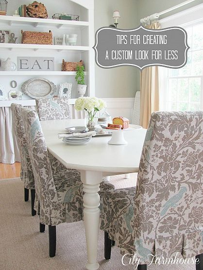 chair covers in that fabric I used on the little cabinet. pretty on these chairs