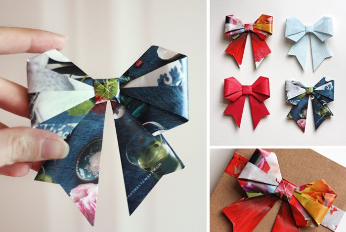 Origami Bows made from Recycled Magazine: 15 Creative DIY Gift Wrap Ideas